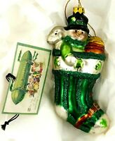 """Glass Irish Christmas Ornament 5"""" Snowman in Stocking with Lamb and Pot of Gold"""