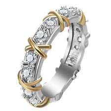 White Sapphire Birthstone 925 Silver Two Tone Wedding Bridal Ring Gift Size 5-12