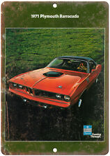 """1971 Plymouth Barracuda Car Flyer Ad 10"""" x 7"""" Reproduction Metal Sign"""