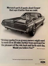 1968 MERCURY CoUgAr -AD/PICTURE/PRINT 67 69 70 MUSTANG 351 FORD LINCOLN XR-7