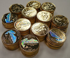 2007 WASHINGTON GOLD STATE QUARTERS W/ HOLOGRAM~100 PIECES~MOUNT RAINIER