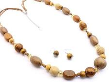 MULTI BROWN LUCITE AND WOOD BEAD SEWED CORD LONG NECKLACE EARRING SET