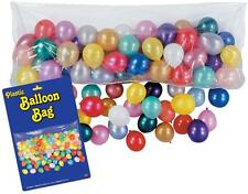 Circus Birthday BALLOON DROP Plastic Bag w/ 100 Latex Balloons NEW YEARS EVE