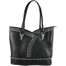 BLACK STUDDED RHINESTONE LOOK SHOULDER HANDBAG FASHION CONCEALED CARRY PURSE NEW