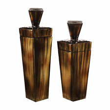 Mid Century Modern Brown Metal Canister Set 2 | Sculpture Geometric Container