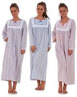 Women Nightwear Floral Print 100% Cotton Long Sleeve Long Nightdress M to XXXL
