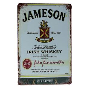 Metal Tin Sign Jameson Irish Whiskey 200x300mm MAN CAVE Bar Shed Sign