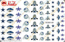 Set of 69 Dallas Cowboys Waterslide Nail Art Decals/Transfers. DC001-69