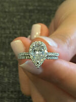2.00 ct Pear Cut Diamond Halo Engagement Wedding Ring Set In 14k White Gold Over