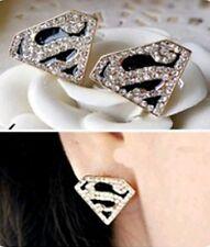 Gold Plated Black Superman Superwoman Hero Earrings White Crystal Rhinestones