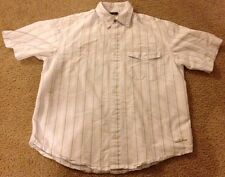 Rewire Men's Size Small Striped Shirt White Green Striped Button Up Great Shape