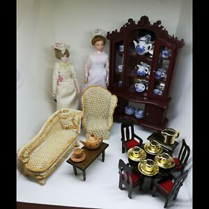 Dolls House Bundle Porcelain Victorian Lady & Maid Mixed Furniture & Tableware