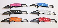 Silver MTech Ballistic Glow in the Dark Mini Folding Carabiner Key Chain Knife