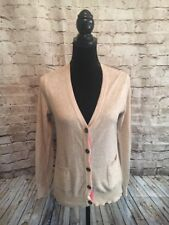 Delia's Juniors Tan And Pink/Coral Accents Button Down Sweater. Size: Large