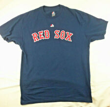 Majestic Red Sox T-shirt Mens Sz L Large Victorino 18 Blue Baseball Tee