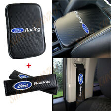 For Ford Racing Carbon Fiber Center Armrest Cushion Pad Cover + Seat Belt Cover