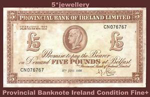 1956 PROVINCIAL BANK of IRELAND £5 Five real Belfast money curency Grade Fine+
