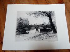 "Superbe grande eau forte ""Péniches-Paris"" signée :Caroline Armington (1875-1939)"