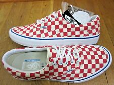 Vans Mens Era Pro Checkerboard Rococco Red White Canvas Skate shoes size 7 NWT