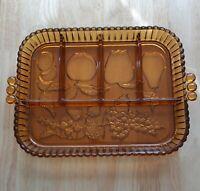 "Vintage Tiara Amber Indiana Glass Vegetable/ Fruit Serving Tray 12""x9"""