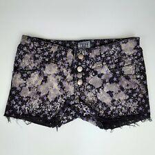 Tripp NYC Gothic Punk Purple Stars Black Distressed Cut Off Jean Shorts Size 5