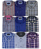 Mens KAM Poly Cotton Check Long Sleeve Button Shirt Work Casual Big Size 2-8XL