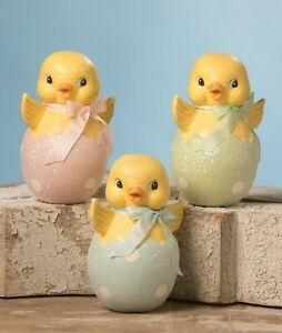 Bethany Lowe Easter Spring Chick In Egg Paper Mache U Pick Color
