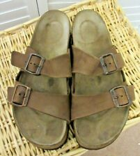Birkenstock Men's Arizona Brown Leather Two-Strap Sandals Size 43 US 10