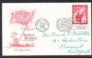 """United Nations """"Artmaster"""" 1959 - 5c Airmail Card Addressed"""