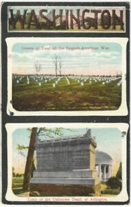 1912 Arlington Cemetery Spanish American War & Tomb of Unknown Soldier Postcard