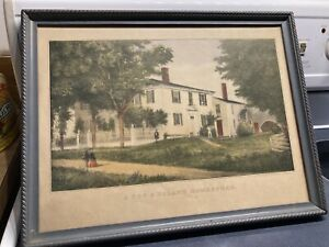 A New England Homestead -Currier and Ives Original Lithograph 1840-50