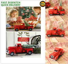 Christmas Tree Home Office Decor Red Vintage Metal Classic Rustic Pickup Truck