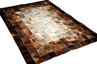 NEW Cowhide Rug Patchwork Cowskin Cow Hide Leather Carpet. Brown.