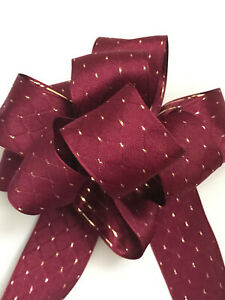 Luxury Wired-Edged RIBBON Burgundy Plum with Gold Dots