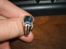 10K GOLD RING BLUE TOPAZ DIAMOND MAR HD 535 MENS SIZE 11.5
