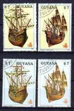 Bateaux Guyane (34) série complète de 4 timbres oblitérés
