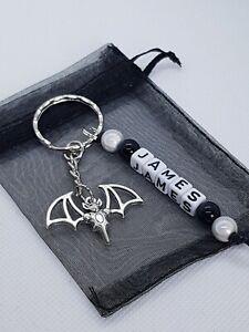 Personalised halloween Bat Keyring, halloween gothic keyring, bat gifts