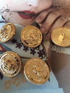 4 St Knöpfe Ösenknopf Metallknöpf Braun Gold Metall Hohe Qualität