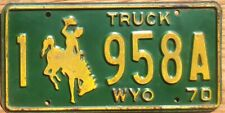 1970 Wyoming License Plate Number Tag - $2.99 Start