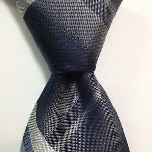 VAN HEUSEN Men's Polyester XL Necktie Designer STRIPED Blue/Gray/White NWT $50