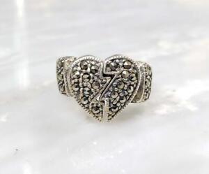 Sterling Silver Peekaboo Marcasite Heart Ring ~ Sz 7.5 ~ 7.7 g ~ 10-K1370