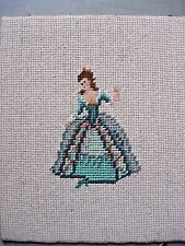 Colonial Lady Vtg 30s Green Pink Finished Needlepoint Petit Point Picture