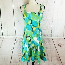 Madison Leigh Fit & Flare Dress Women Sz 10P Petite Sleeveless Blue Green Floral