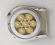 stainless steel horseshoe belt buckle with 357 mag shells