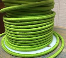 verde lima Paño Cubierto Redondo corriente,3-wire,tela de algodón,vintage lighs