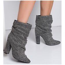 Liliana KING Black Rhinestone Mesh Chain Mail Slouchy Ankle Boots Chunky Heel