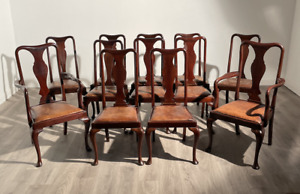 Beautiful High Quality Set Of 12 Harlequin Dining Chairs In Mahogany