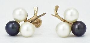 Vintage 14K Gold White & Black Akoya Japanese Pearl Cluster Earrings Screw-Back