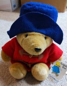 "Vintage Eden Paddington Bear 15"" Red Coat Blue Hat Plush Stuffed Animal Toy"