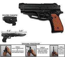Tactical Brown Black Holster Pistol Gun Spring Assisted Folding Pocket Knife